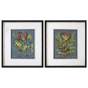 Uttermost Art Rhubarb And Artichoke Floral Prints (Set of