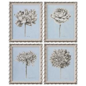 Uttermost Art Graphite Botanical Study Floral Prints (Set
