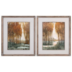 Custom Golden Forest Landscape Prints (Set o