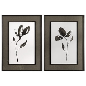 Uttermost Art Solitary Sumi-e Floral Prints