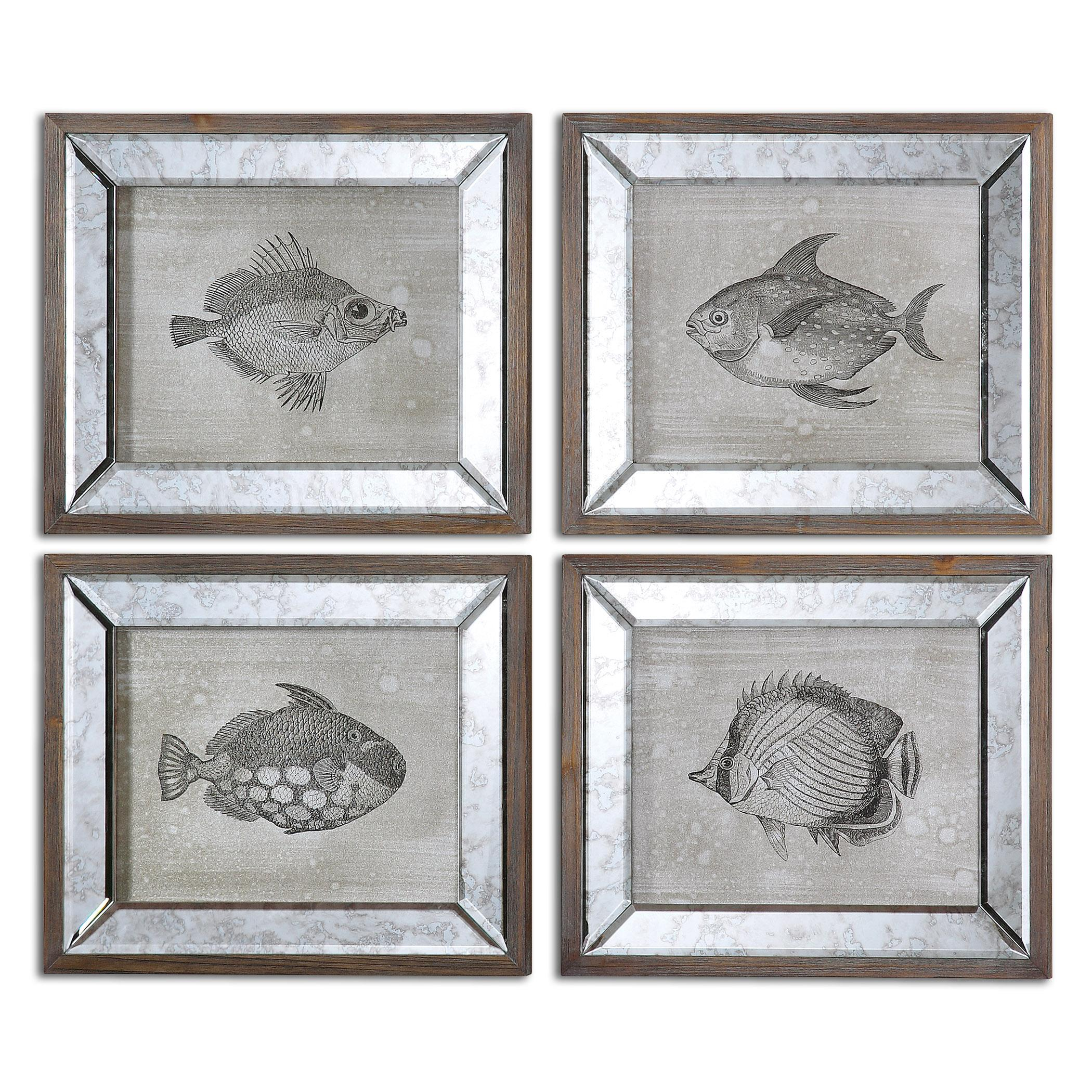 Uttermost Art Mirrored Fish Framed Art Set of 4 - Item Number: 41700