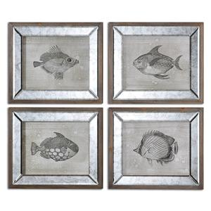 Uttermost Art Mirrored Fish Framed Art Set of 4
