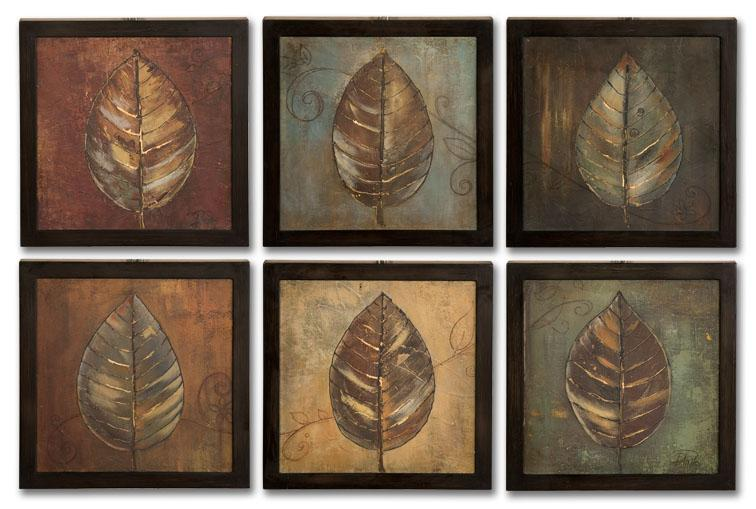 Uttermost Art New Leaf Panel Set of 6 - Item Number: 50890