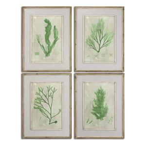 Uttermost Art Emerald Seaweed Framed Art Set of 4