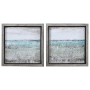 Aqua Horizon Framed Prints, Set/2