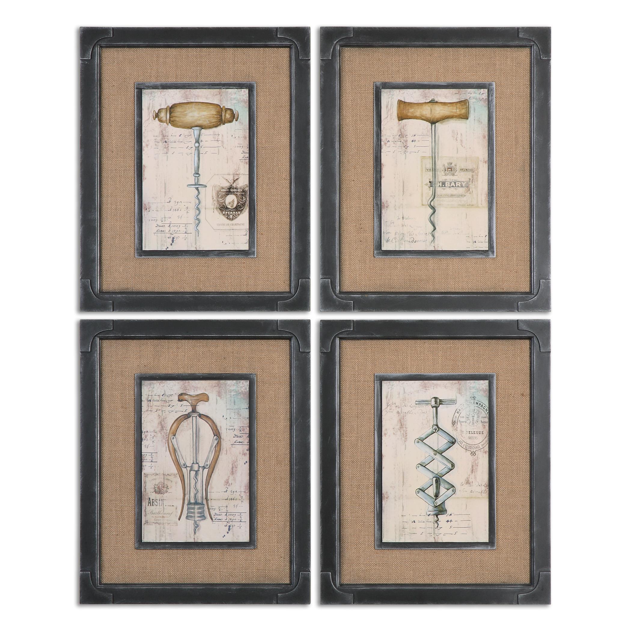 Uttermost Art Antique Corkscrews Vintage Art, S/4 - Item Number: 55029