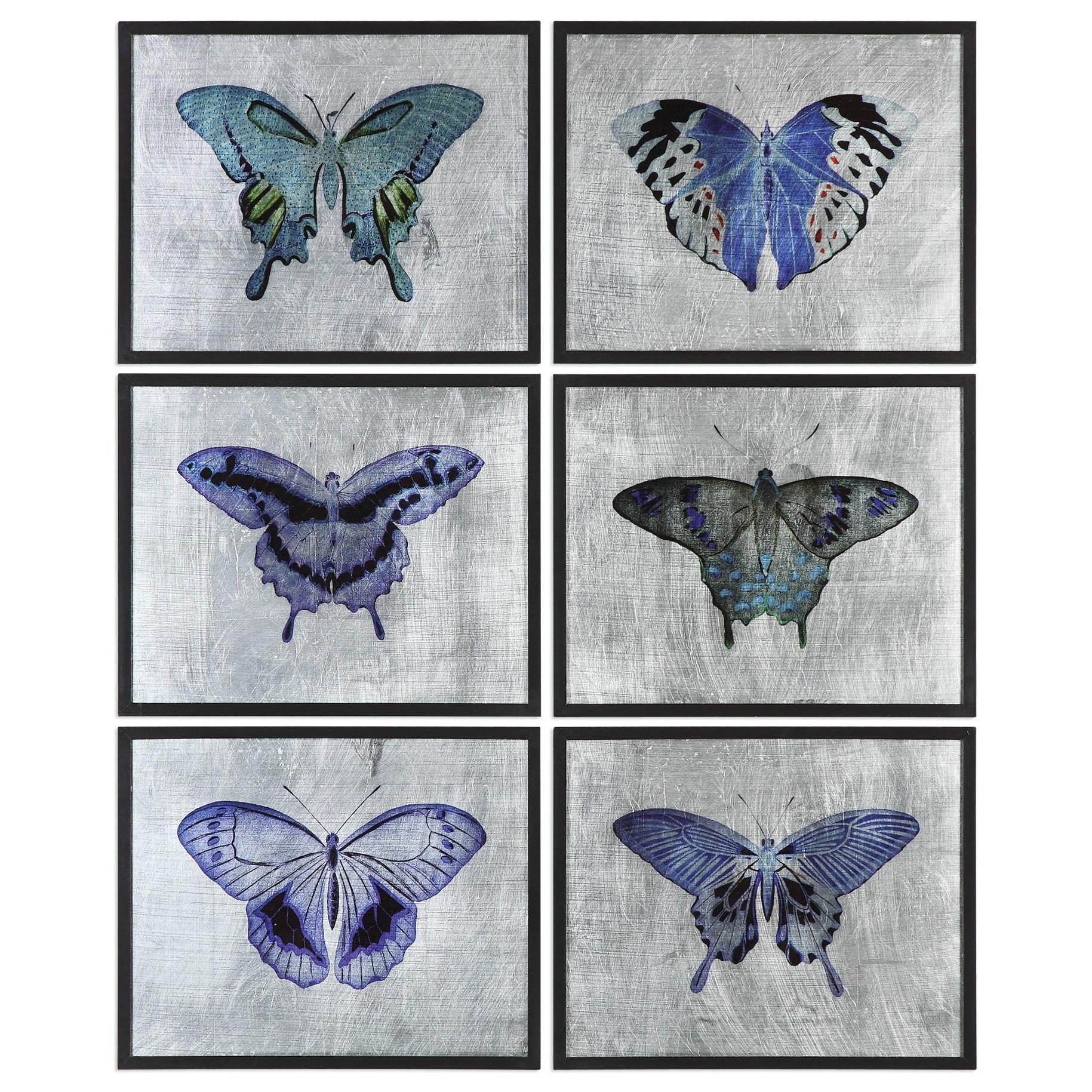 Uttermost Art Vibrant Butterflies (Set of 6) - Item Number: 55030
