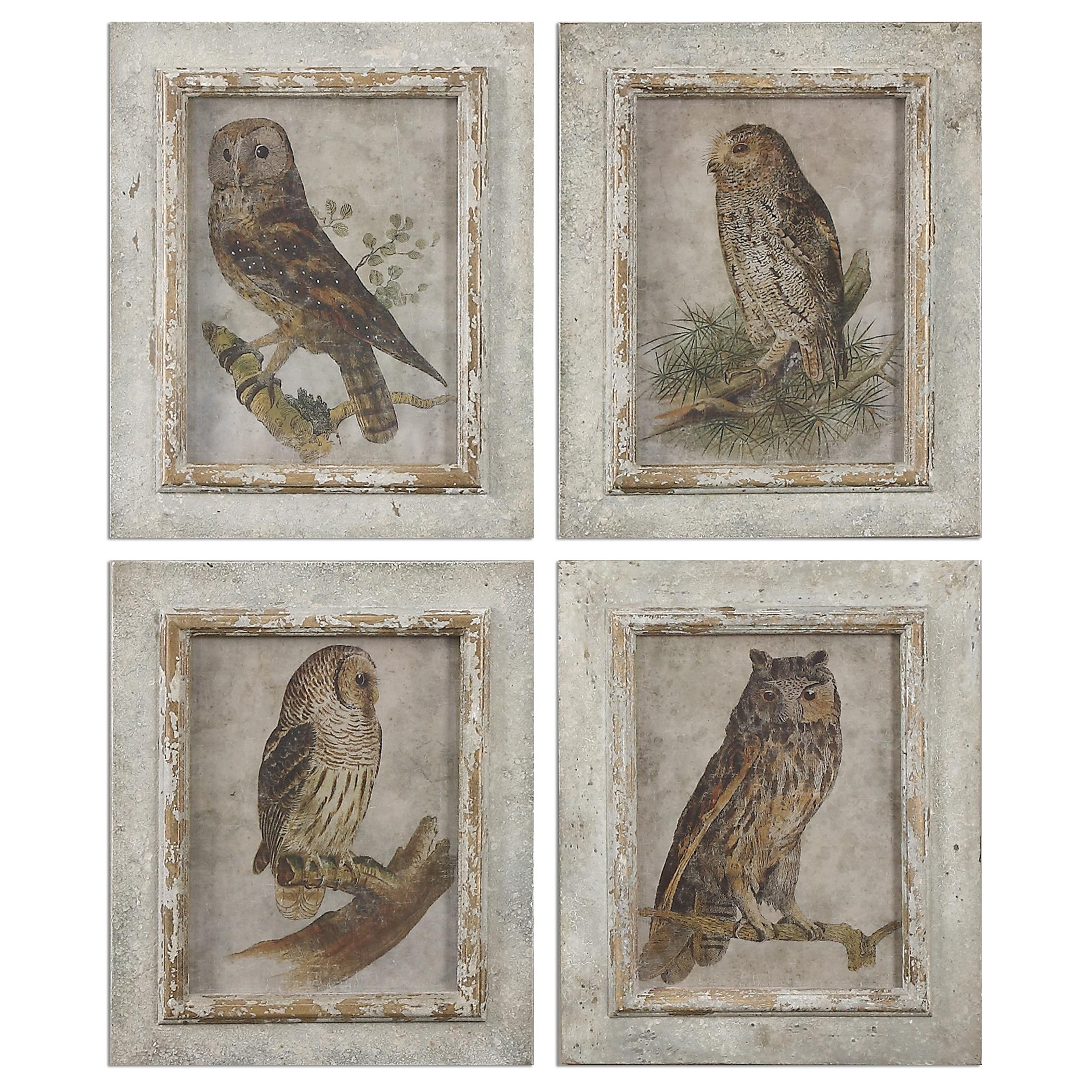 Uttermost Art Owls Framed Art, S/4 - Item Number: 56061