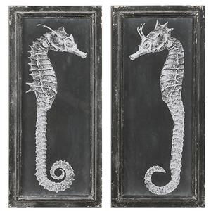 Uttermost Art Seahorse Blueprints Art S/2