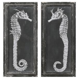 Uttermost Art Seahorse Blueprints Art S/2