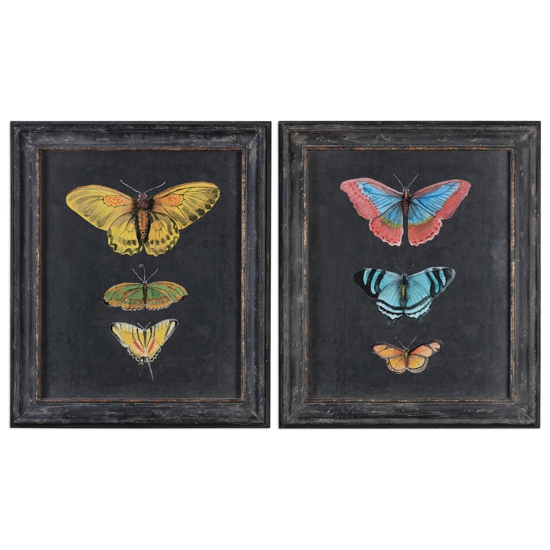 Uttermost Art Butterflies On Slate (Set of 2) - Item Number: 56065