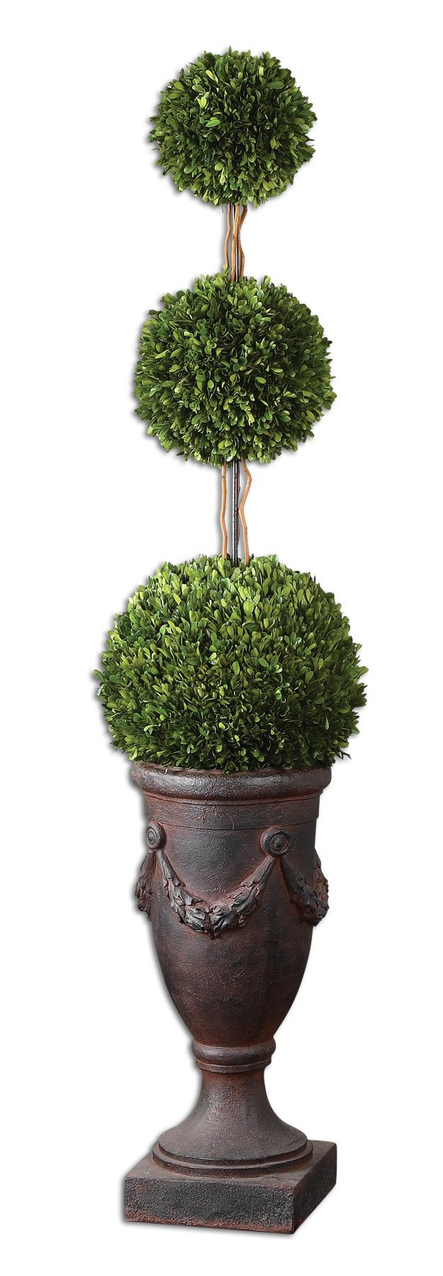Uttermost Botanicals Preserved Boxwood Triple Topiary - Item Number: 60093