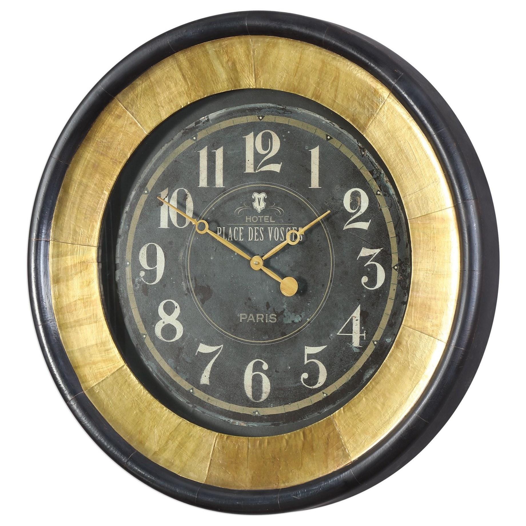 Uttermost Lannaster Black & Gold Wall Clock
