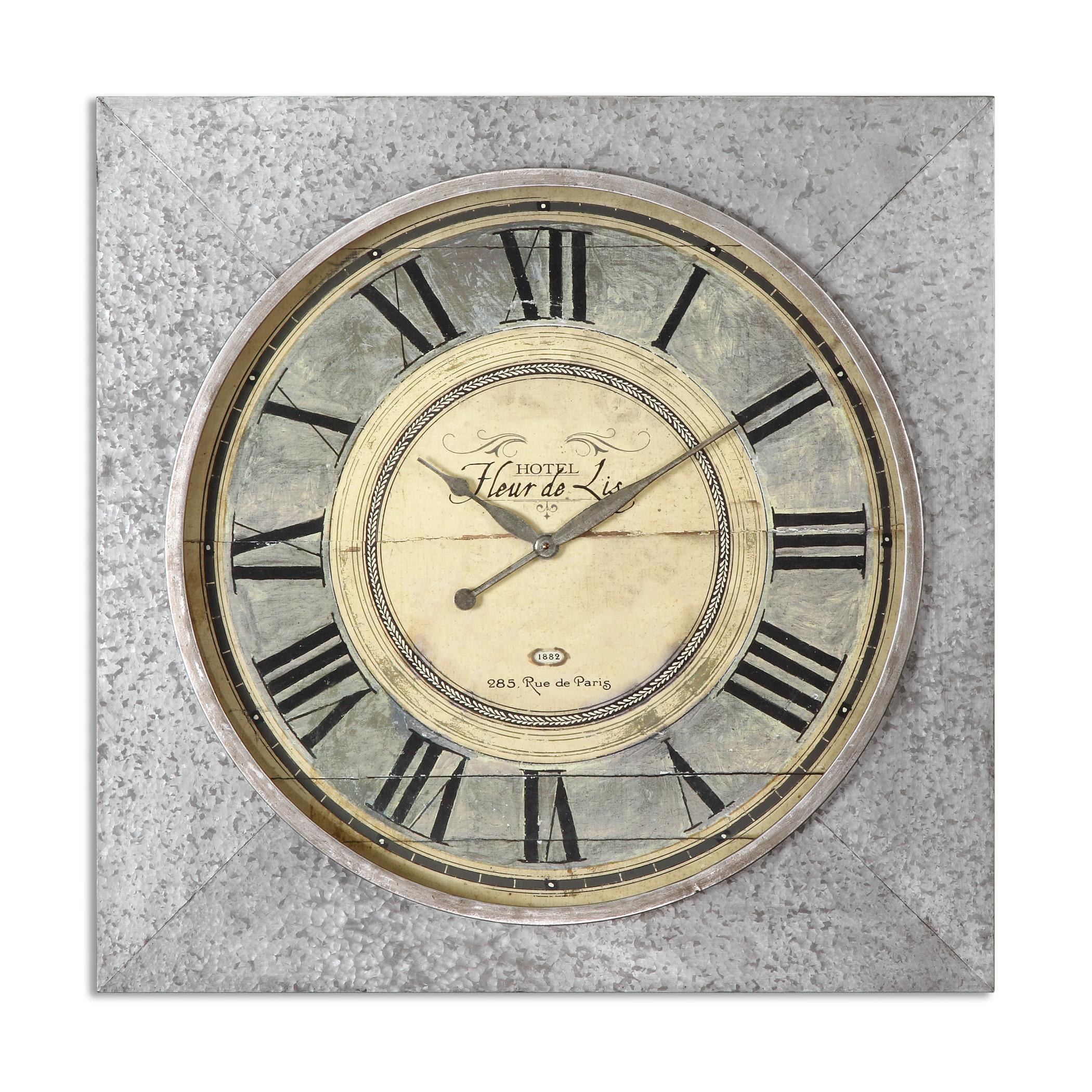 Uttermost Clocks Rue de Paris Square Wall Clock - Item Number: 06423
