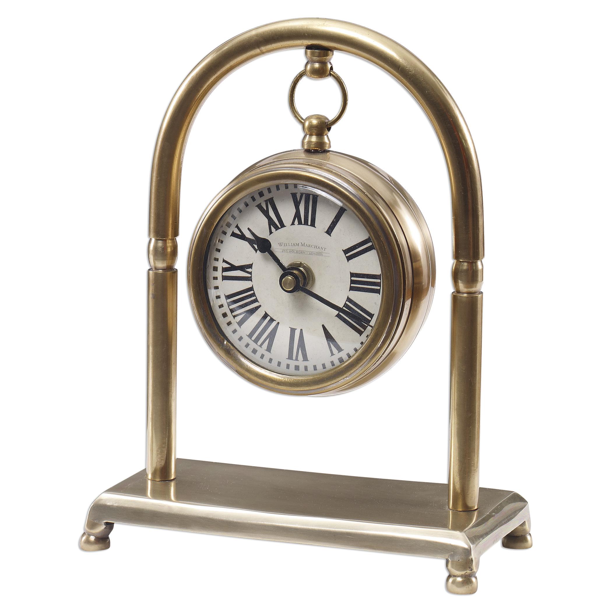 Uttermost Clocks Bahan Brass Table Clock - Item Number: 06431