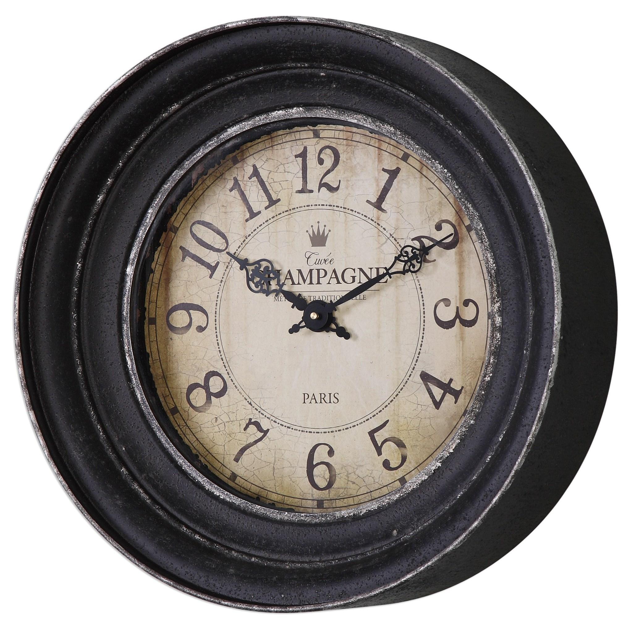 Uttermost Clocks Melania Aged Black Wall Clock - Item Number: 06435