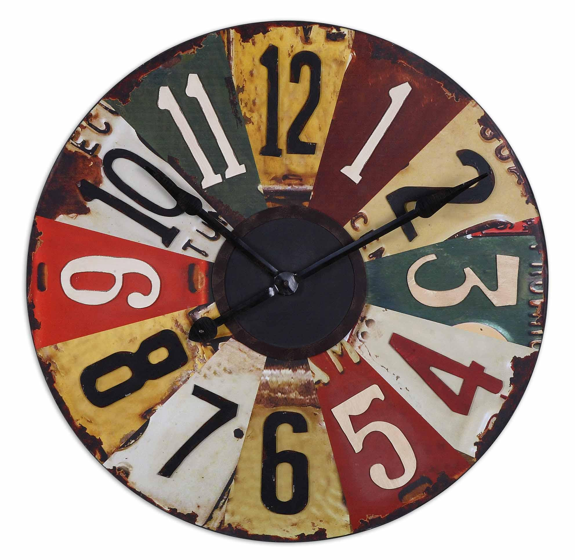 Uttermost Clocks Vintage License Plates Clock - Item Number: 06675