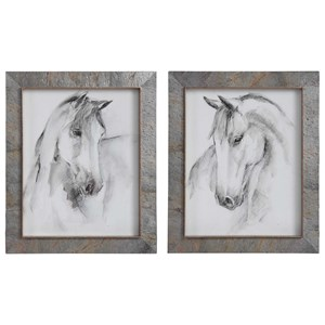 Equestrian Watercolor Framed Prints, S/2