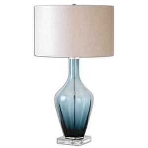 Uttermost Lamps Hagano Blue Glass Table Lamp