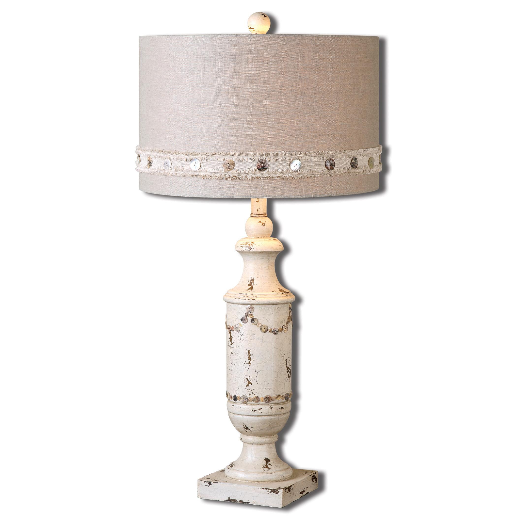 Lacedonia Distressed Ivory Lamp