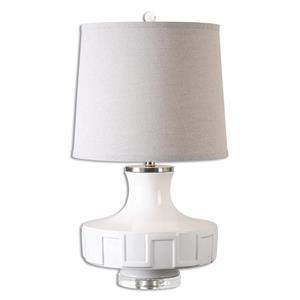 Uttermost Lamps Calvenzano Gloss White Table Lamp