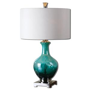 Uttermost Lamps Yvonne Green Blue Glass Table Lamp