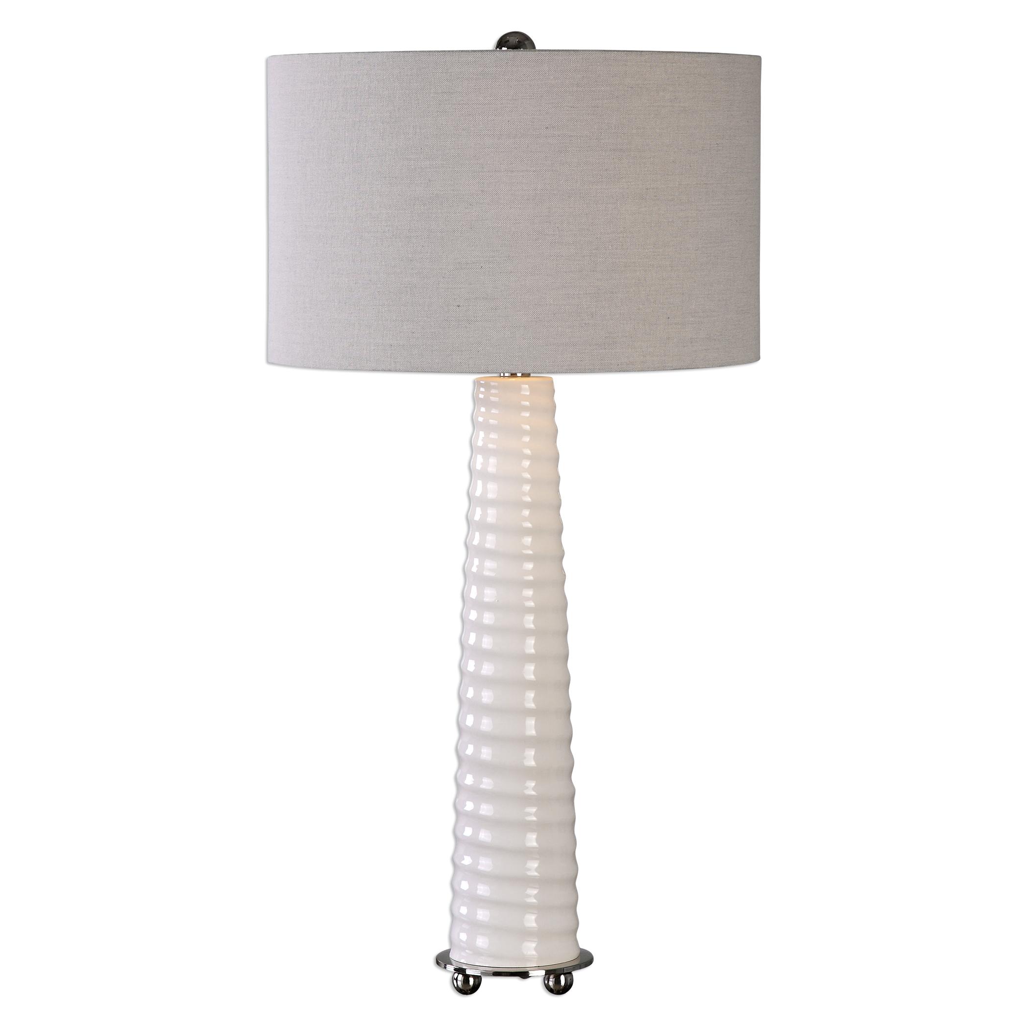 Mavone Gloss White Table Lamp