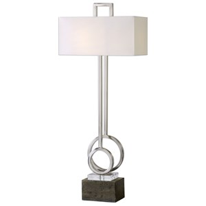 Deshka Brushed Nickel Table Lamp