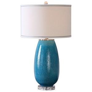 Uttermost Lamps  Friona Blue Glaze Table Lamp