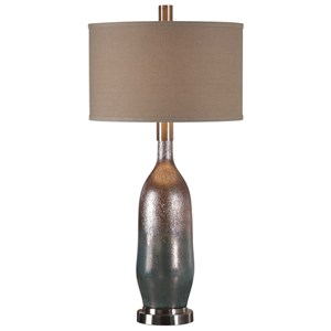 Basola Olive Gray Glass Table Lamp