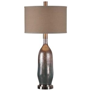 Uttermost Lamps Basola Olive Gray Glass Table Lamp