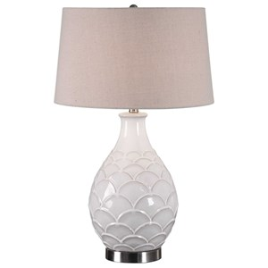 Uttermost Lamps Camellia Glossed White Table Lamp