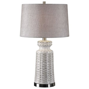 Uttermost Lamps Kansa Distressed White Table Lamp