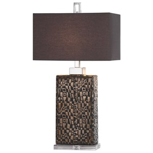 Olavo Etched Dark Bronze Lamp