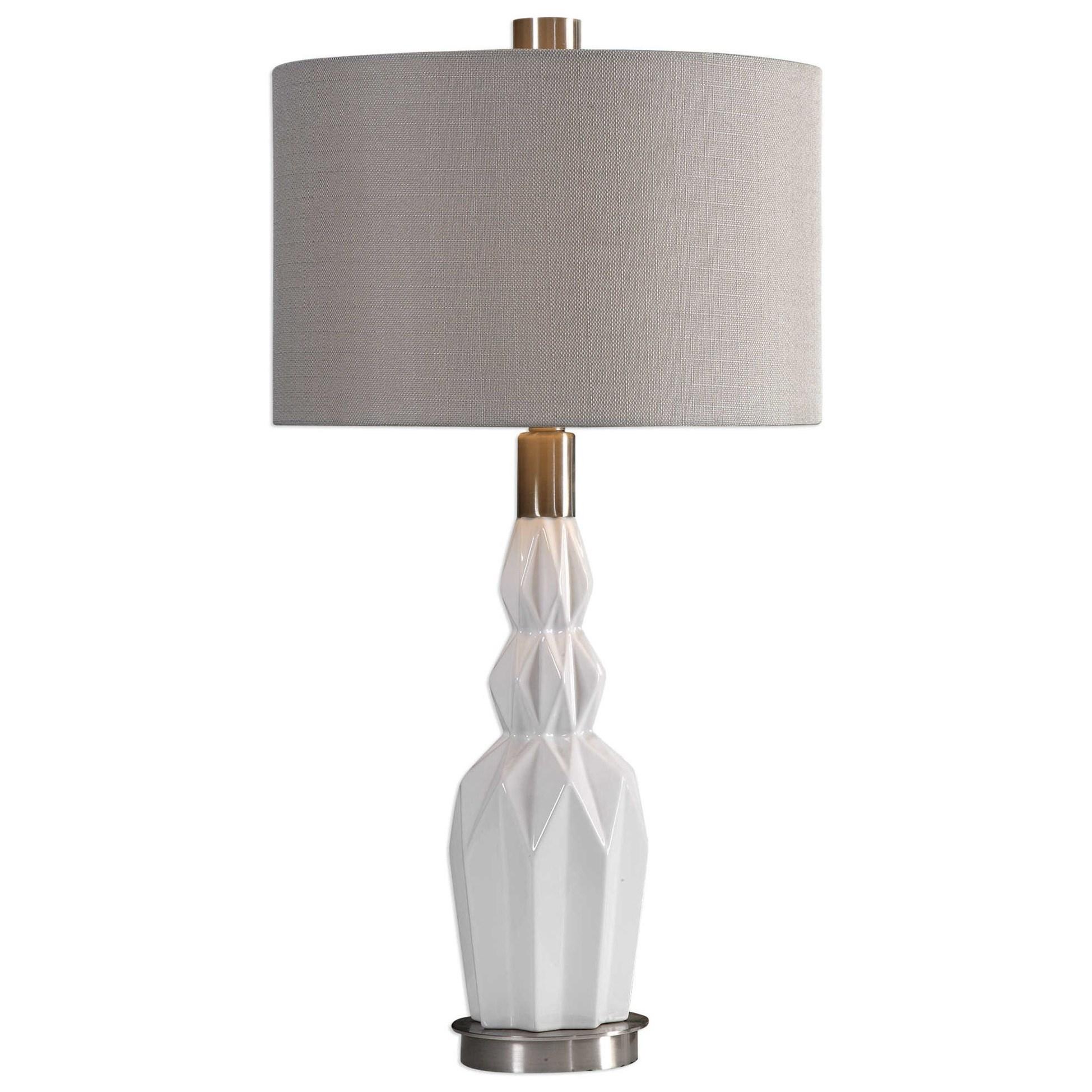 Cabret Gloss White Ceramic Table Lamp