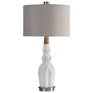 Uttermost Lamps Cabret Gloss White Ceramic Table Lamp