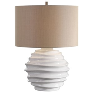 Gisasa Crackled White Lamp