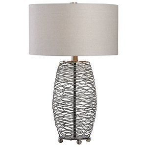 Sinuous Wavy Steel Mesh Lamp