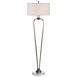 Uttermost Lamps Valkaria Curved Brass Floor Lamp
