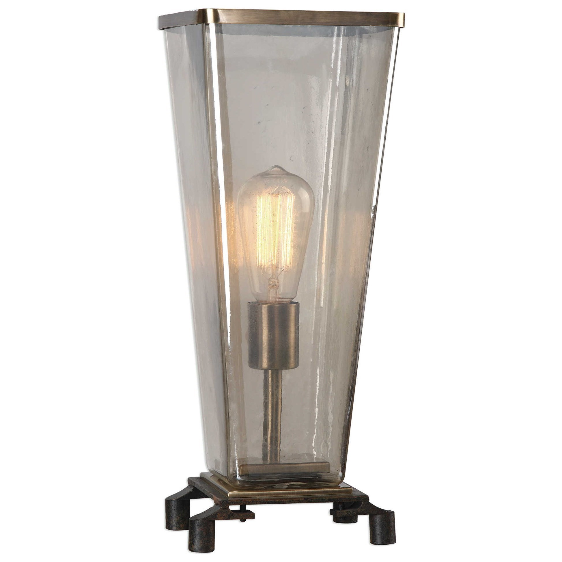 Accent Lamps Emidio Glass Hurricane Lamp by Uttermost at Sprintz Furniture