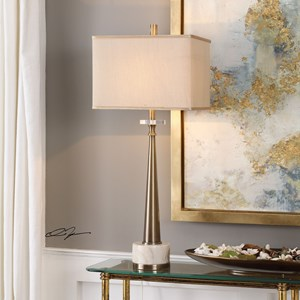Verner Tapered Brass Table Lamp
