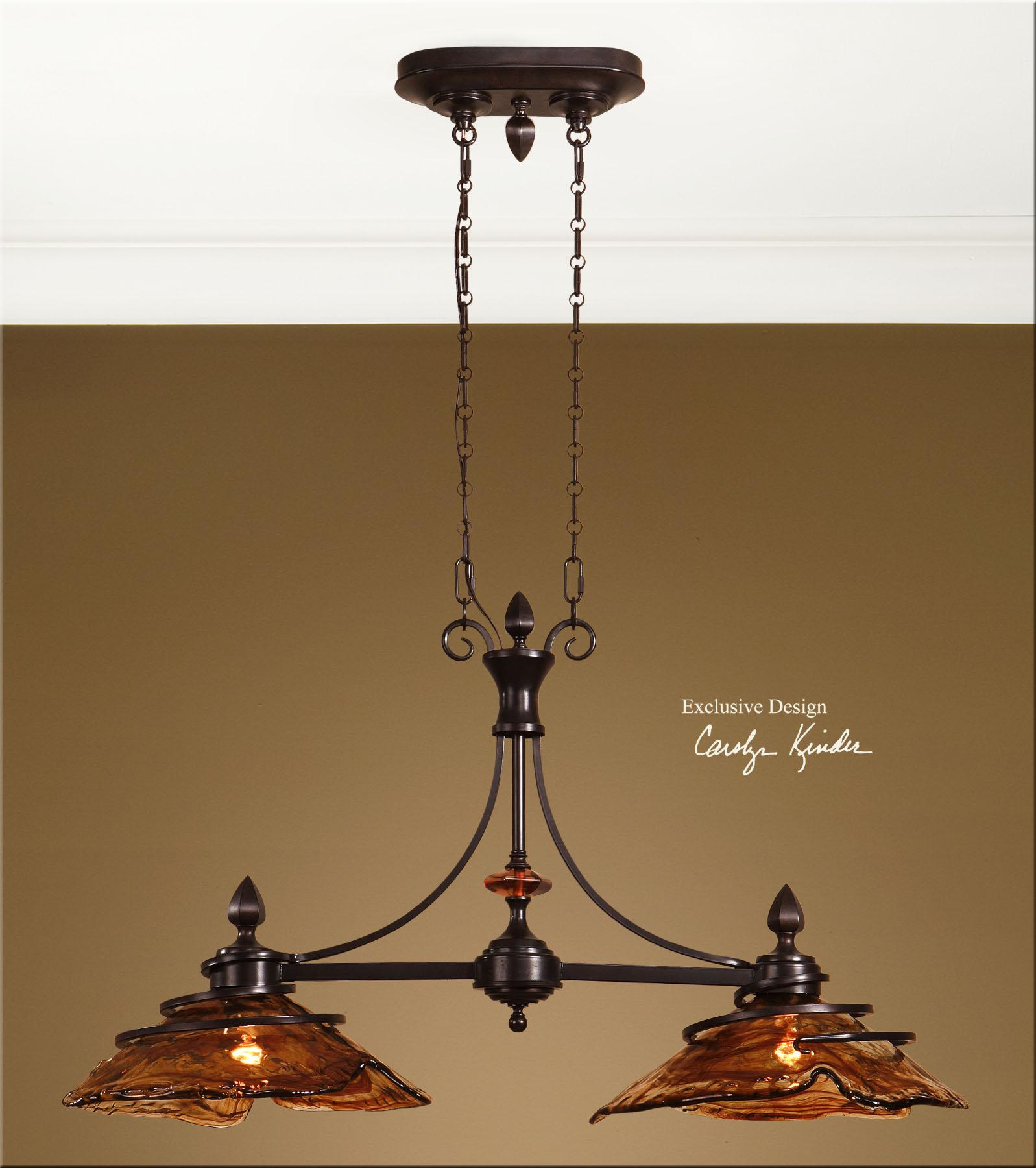 Lighting fixtures pendant lights vitalia 2 light kitchen island by uttermost
