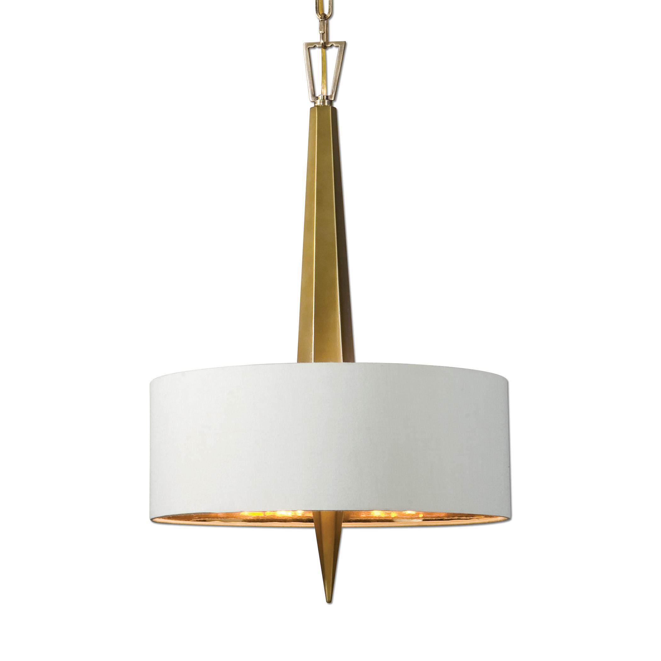 Uttermost Lighting Fixtures Obeliska 3 Light Gold Chandelier - Item Number: 21264