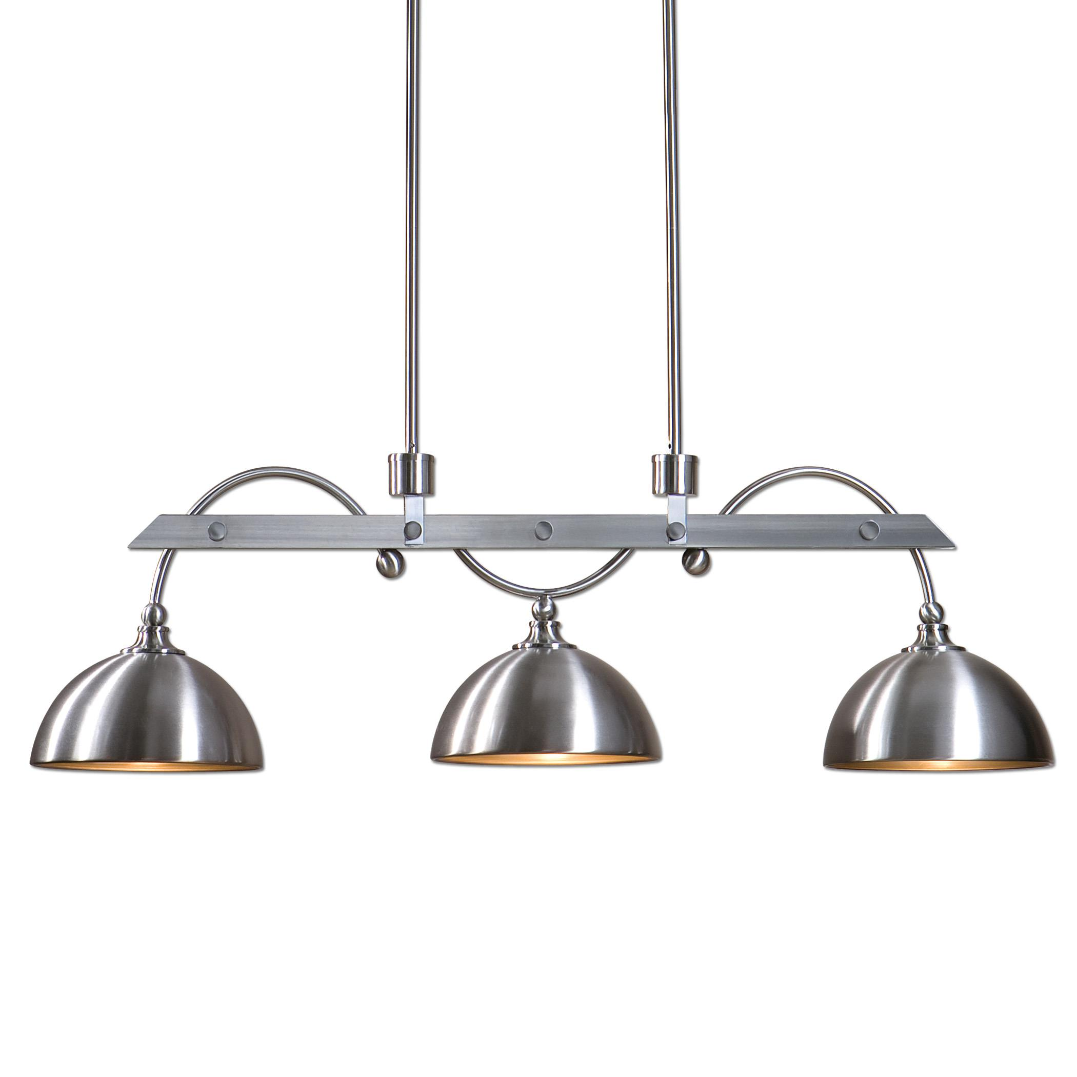 Uttermost Lighting Fixtures Malcolm 3 Light Nickel Industrial Island Lig - Item Number: 21265