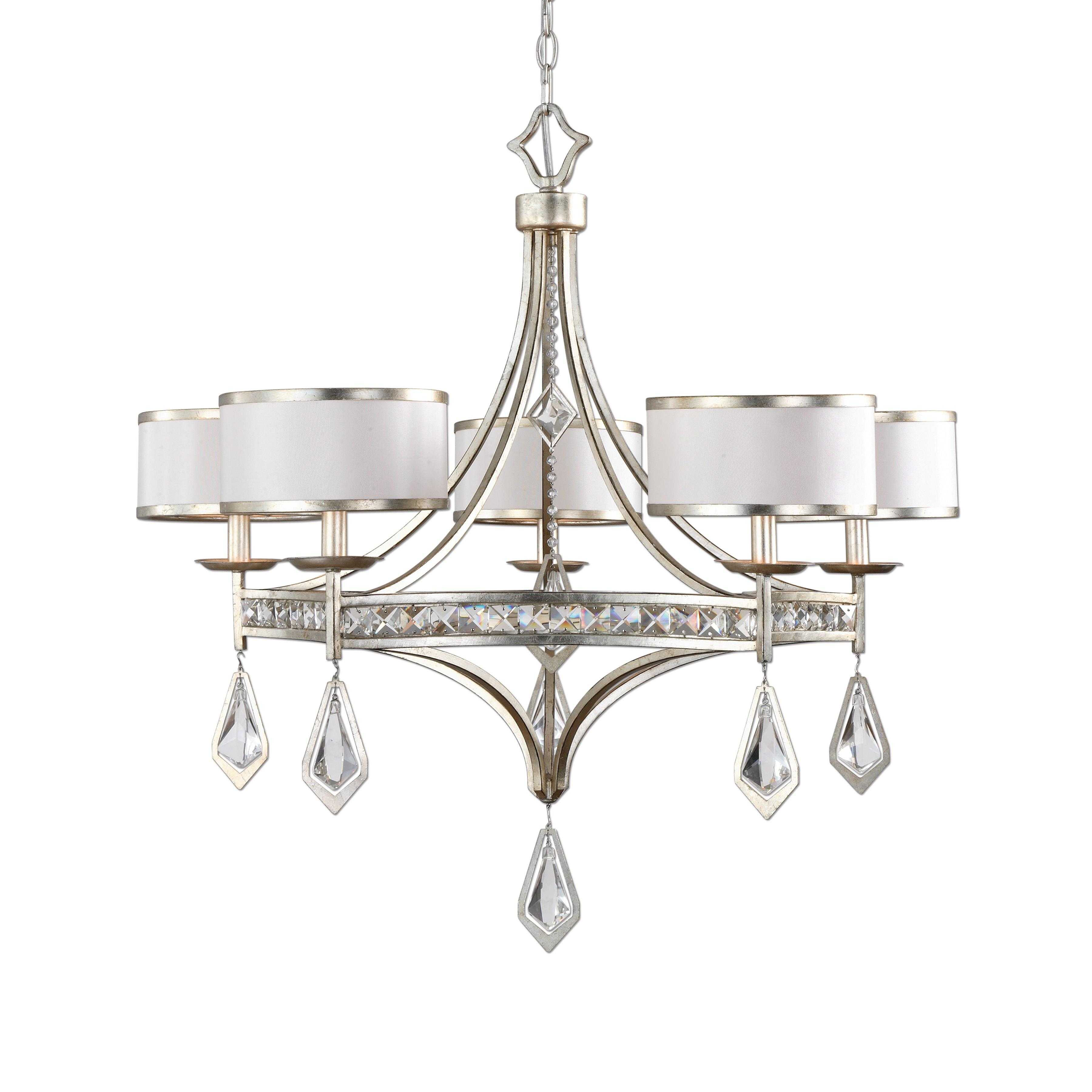 Uttermost Lighting Fixtures Tamworth 5 Light Silver Champagne Chandelier - Item Number: 21268