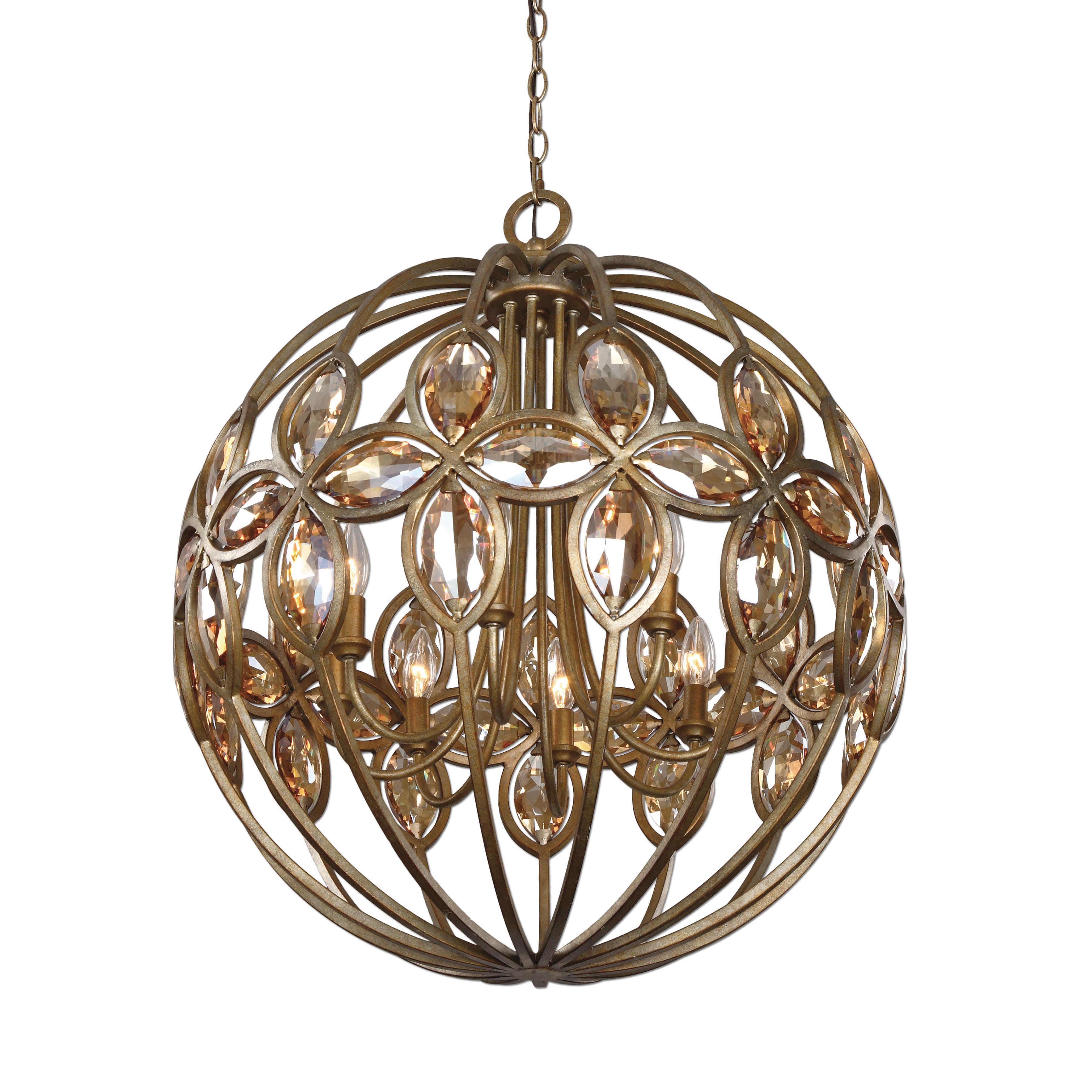 Uttermost Lighting Fixtures Ambre 8 Light Gold Sphere Chandelier - Item Number: 21269