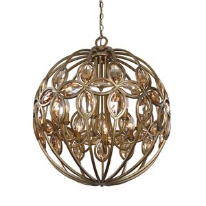 Uttermost Lighting Fixtures Ambre 8 Light Gold Sphere Chandelier