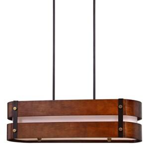 Uttermost Lighting Fixtures Milford 4 Light Oval Wood Chandelier