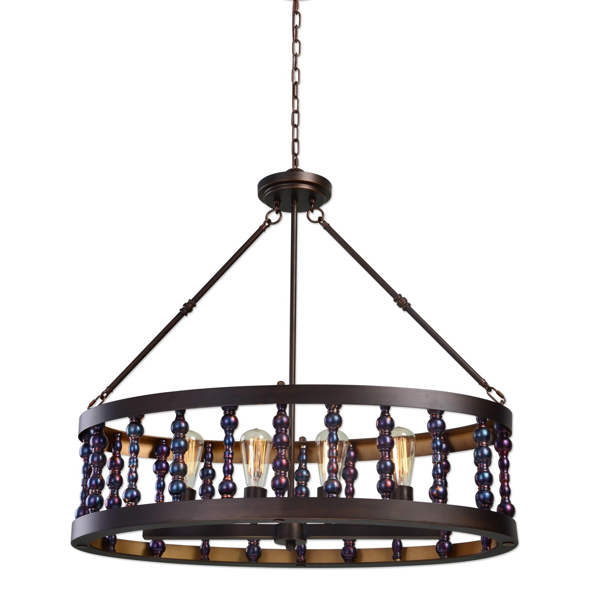 Uttermost Lighting Fixtures Mandrino 4 Light Oval Chandelier - Item Number: 21287