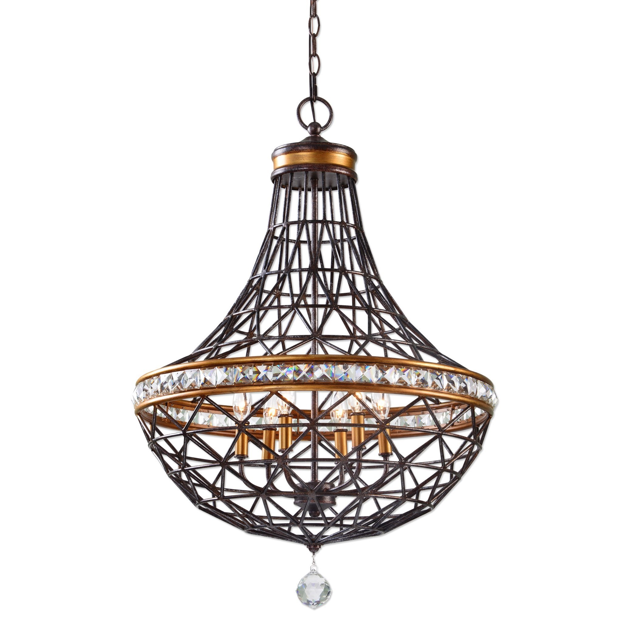 Uttermost Lighting Fixtures Cestino 6 Light Geometric Pendant - Item Number: 21292